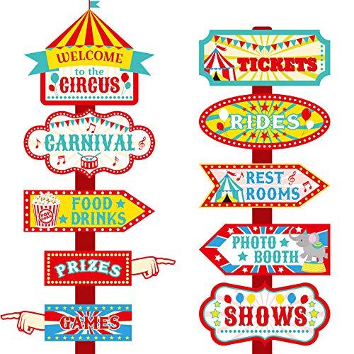 20 Pièces Signes Directionnels de Fête Carnaval de Cirque Décor de Signe de Cirque Panneaux de Bienvenue de Cirque pour Fourniture Décoration de Fête d'Anniversaire Forain