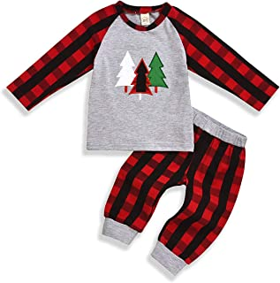 SEVEN YOUNG 2Pcs Kids Christmas Outfits Toddler Baby Boy Girl Clothes Plaid T-Shirt Sweater Tops +Red Plaid Pants Fall Winter Clothing