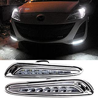 iJDMTOY Direct Fit LED Daytime Running Light Kit For 2010-2013 Mazda 3, Xenon White High Power 7-LED, Replace Lower Bumper Grille Inserts
