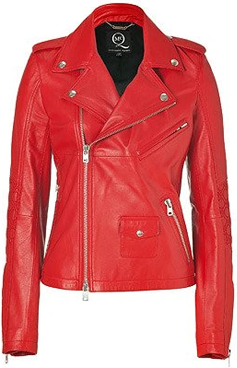 100% New Genuine Leather Lambskin Women Biker Motorcycle Jacket Ladies LTN294