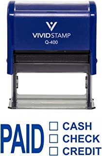 Paid Cash Check Credit Self Inking Rubber Stamp (Blue Ink) - X-Large