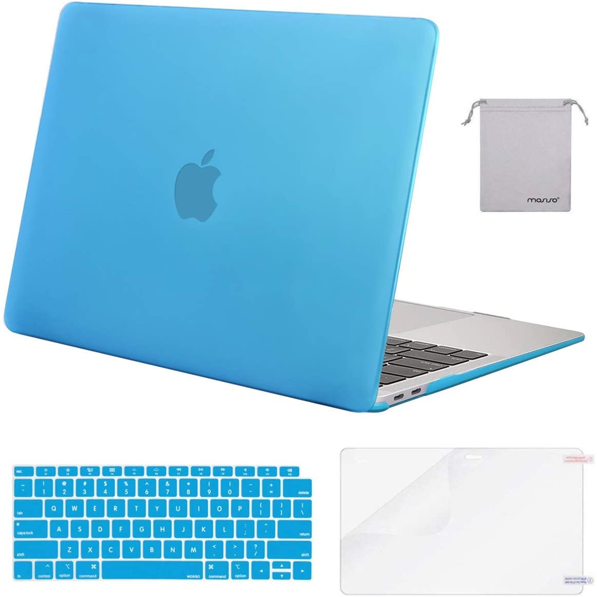 MOSISO Compatible with MacBook Air 13 inch Case 2020 2019 2018 Release A2337 M1 A2179 A1932 Retina Display Touch ID, Plastic Hard Shell&Keyboard Cover&Screen Protector&Storage Bag, Aqua Blue