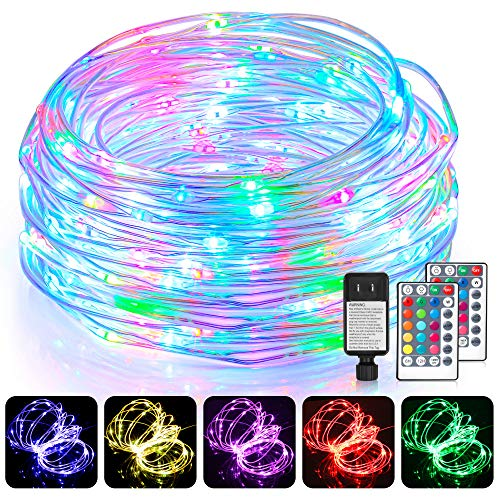 99Ft LED Rope Lights Outdoor, 16 Colors RGB Remote Control Fairy String Lights Plug in with 300 LEDs, Waterproof, Super Durable for Bedroom Patio Halloween and Christmas Decor
