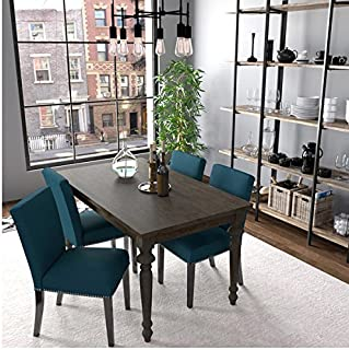 Handy Living Brisbane Caribbean Blue Linen Upholstered Dining Chairs (Set of 4)