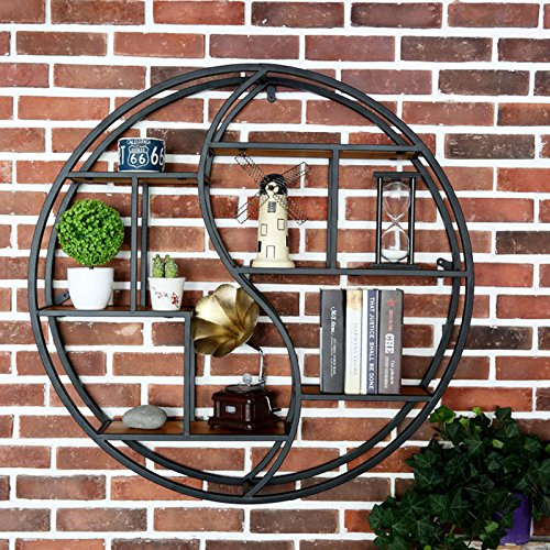 WLH- European Style Living Room Muur smeedijzer Racks Retro Creative Solid Houten Plank Partition wanddecoratie ronde display (Size : Diameter: 70cm)