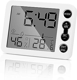 Aceshop Termómetro Digital e Higrómetro para Interiores, Medidor de Temperatura y Monitor de Humedad Precisos con Reloj De...