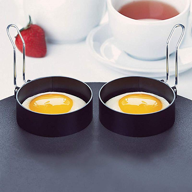 Nonstick Houseworks Round Egg Rings Set Of 2 Non Stick Stainless Handle Shaper Pancakes Molds Ring Amiley Ship From USA Black