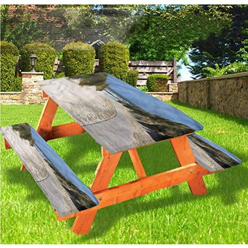 LEWIS FRANKLIN - Cortina de ducha para playa de lujo, cubierta de mesa de picnic, diseño de costa con bordes elásticos, 28 x 72 pulgadas, juego de 3 piezas para mesa plegable