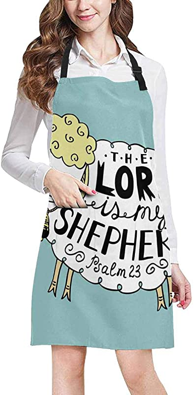 InterestPrint Sheep With Christian Bible Verse The Lord Is My Shepherd Home Kitchen Apron For Women Men With Pockets Unisex Adjustable Bib Apron For Cooking Baking Gardening Large Size