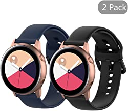 Seltureone (2 Pack 20mm Solid Color Silicone Band Compatible for Samsung Galaxy Watch Active, Ticwatch C2, Amazfit Bip Bands, Soft Silicone Replacement Wristband (S&L)