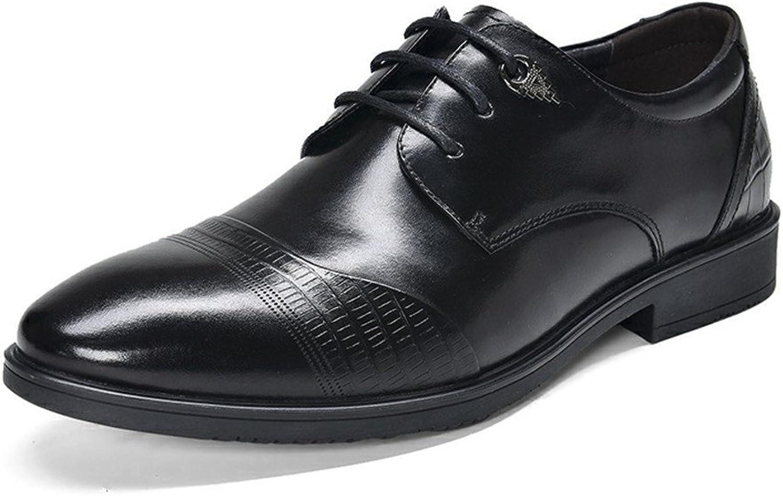 Fgmjgk Men's business casual shoes, men's leather shoes, business casual shoes, lace leather shoes,black,Thirty-eight