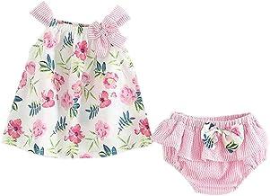 Counjunto de Ropa bebé niña Verano 2pcs Bebés niñas impresión Floral Tops Chaleco + Pantalones Cortos a Rayas Trajes Ropa Conjunto