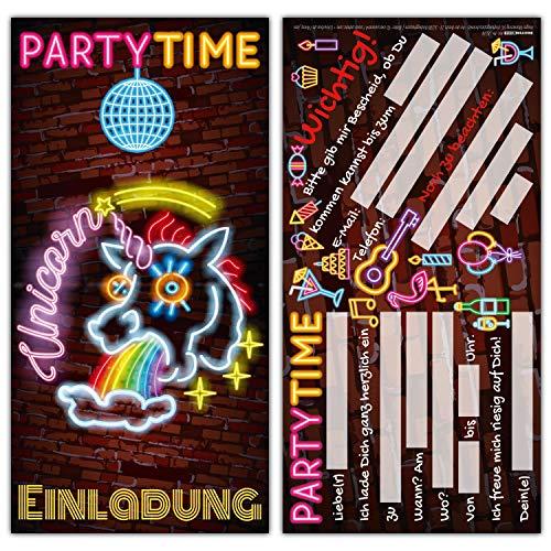 12er Set UNICORN Einladungskarten - edle & witzige Einhorn Einladung zum Kinder-Geburtstag oder Party für Mädchen Jungen Erwachsene von BREITENWERK