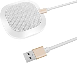 SiZHENG USB Microphone High Sensitivity Conference Mic Plug & Play Computer Microphone Portable Use for Windows, Copmuter, Laptop, Meeting(White)