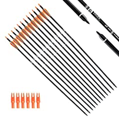 """Length:30"""", Outer diameter: 0.309 inch. Fletching with 2 black 1 white vanes. For draw weight 40-60 pounds recurve, compound, or long bows. They are solid & well made. Precision carbon hunting arrows made for extended durability and long lasting targ..."""