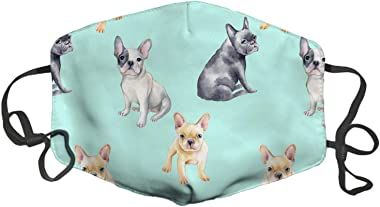 LuxSweet French Bulldog Pet Puppy Face Decorative Fashion Design Washable Reusable Unisex Soft and Comfortable for Men and Wo