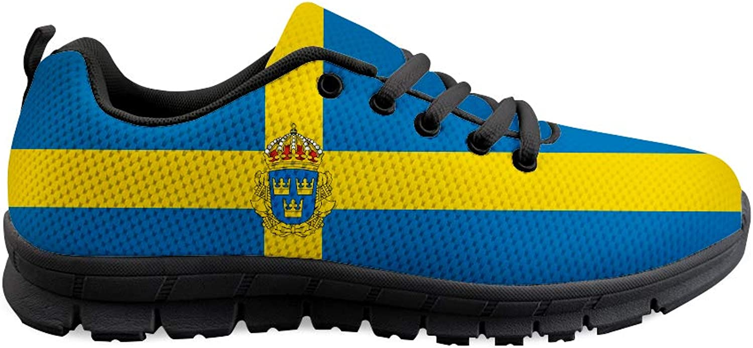 Owaheson Lace-up Sneaker Training shoes Mens Womens Sweden Flag National Emblem