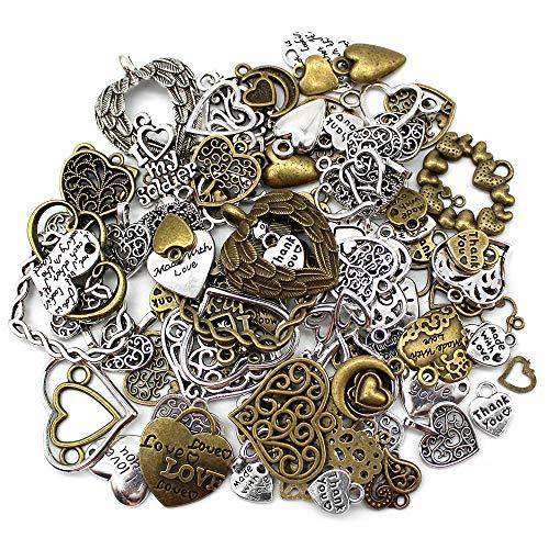 Mila-Amaz 100 Stück Antik Metall Herz Anhänger Charms Zufällige Mischung Charms für Schmuck Basteln, Antik Silber und Bronze