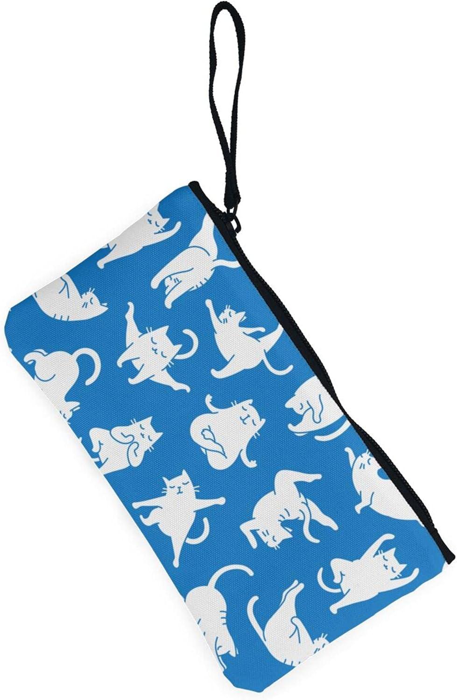 AORRUAM Blue background with cat Canvas Coin Purse,Canvas Zipper Pencil Cases,Canvas Change Purse Pouch Mini Wallet Coin Bag