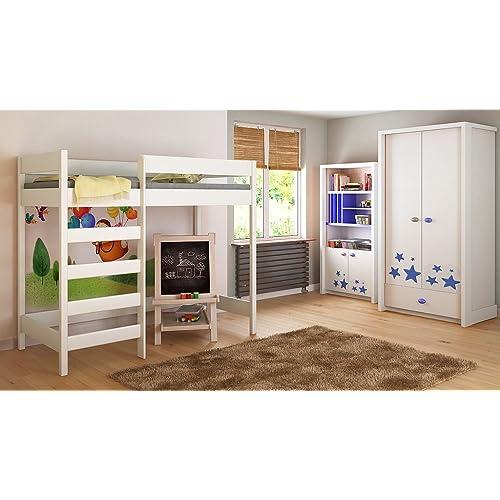 Children's Beds Home Loft Lits Enfants Enfants Juniors 140x70, 160x80, 180x80, 180x90, 200x90 Pas de Matelas Inclus échelle sur Le Devant (Long Bord) (160x80, Blanc)