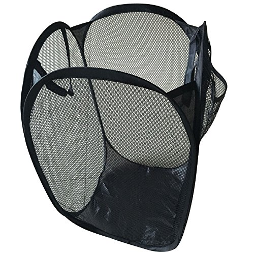 TOPBATHY Foldable Pop Up Easy Open Mesh Laundry Clothes Hamper Basket for College Dorm Black