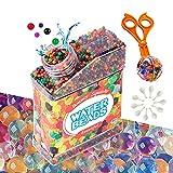 Water Beads 50000 perlas de agua con 10 globos + 1 tenazas, bolas de gel no tóxicas para aliviar el estrés, juegos infantiles, decoración de jarrones, etc.