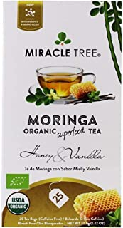 Miracle Tree - Organic Moringa Superfood Tea, 25 Individually Sealed Tea Bags, Honey & Vanilla