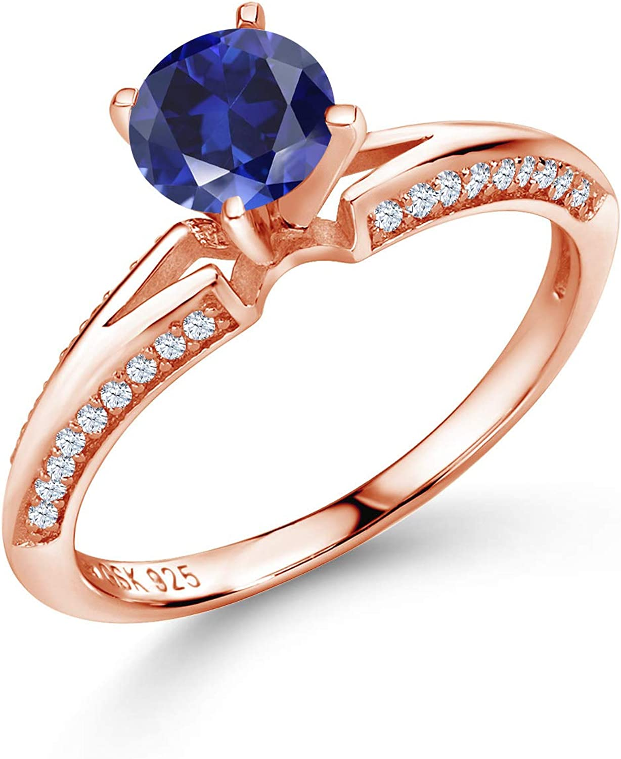 Gem Stone King 1.58 Ct Round Sapphire Blue Trust Rose Max 53% OFF Created 18K Gold