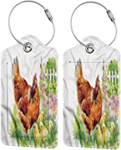 Leather Luggage Tag, Waterproof Luggage Tag, Labels Travel Accessories Chicken Aquarelle Farmlife Poultry (1,2 & 4 Pack)