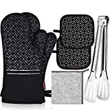 SHAWNTOO Oven Mitts and Pot Holders 6pcs Set, 500℉ Heat Resistant Soft Lining with Non-S...
