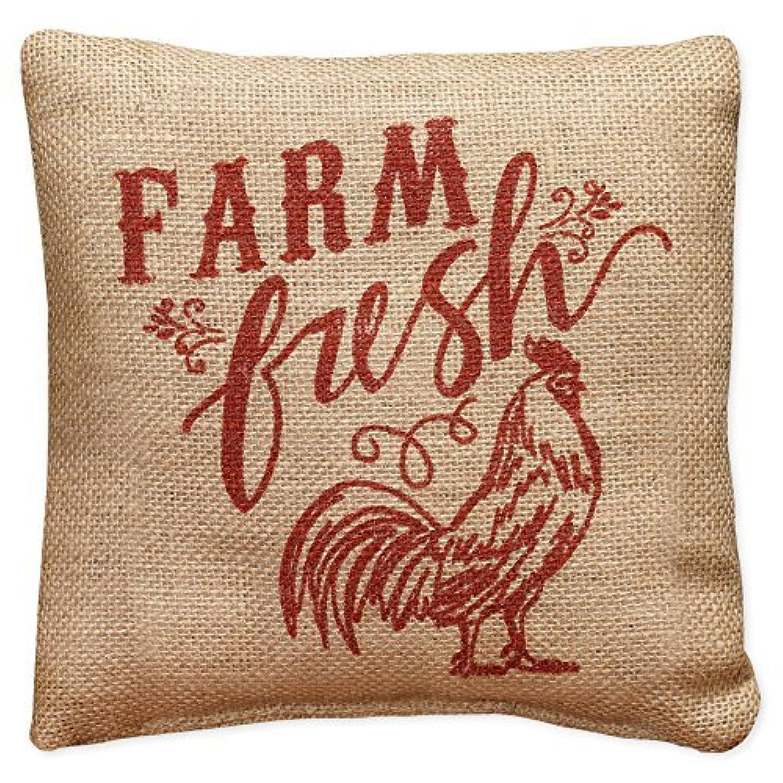 ワットタイトルまっすぐにするSmall Red Farm Fresh Country Rooster 8 x 8 Burlap Decorative Throw Pillow [並行輸入品]