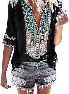 Dainzuy Ladies Sexy Casual Tops,Women Half Sleeve Deep V-Neck Print Loose Tops Blouse T-Shirt