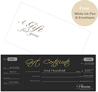 Blank Black Gift Certificates 25set, gift certificate for business, Comes with Free matching Envelopes, Sequential Number -White ink pen included- Small Business, Spa, Beauty Salon