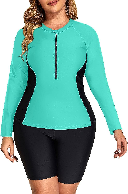 DaciWomen Plus Size Long Sleeve Rash Guard Zip Front Athletic Boy Shorts Tankini 2 Piece SwimsuitsUPF 50
