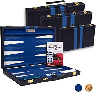 """Get The Games Out Top Backgammon Set - Classic Board Game Case 15"""" Medium Size - Best Strategy & Tip Guide - Available in ..."""