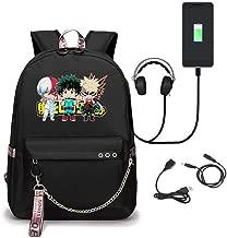 Anime My Hero Academia Student School Bag Laptop Backpack with USB Charging Port