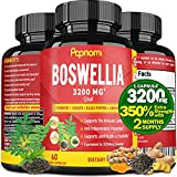 Organic Boswellia Serrata Extract Capsules 3200MG with Turmeric, Ginger, Black Pepper, Green Tea | Joint Back, Knee Pain Relief Supplement, Muscle Relaxer | Anti Inflamation, Bone Health Support