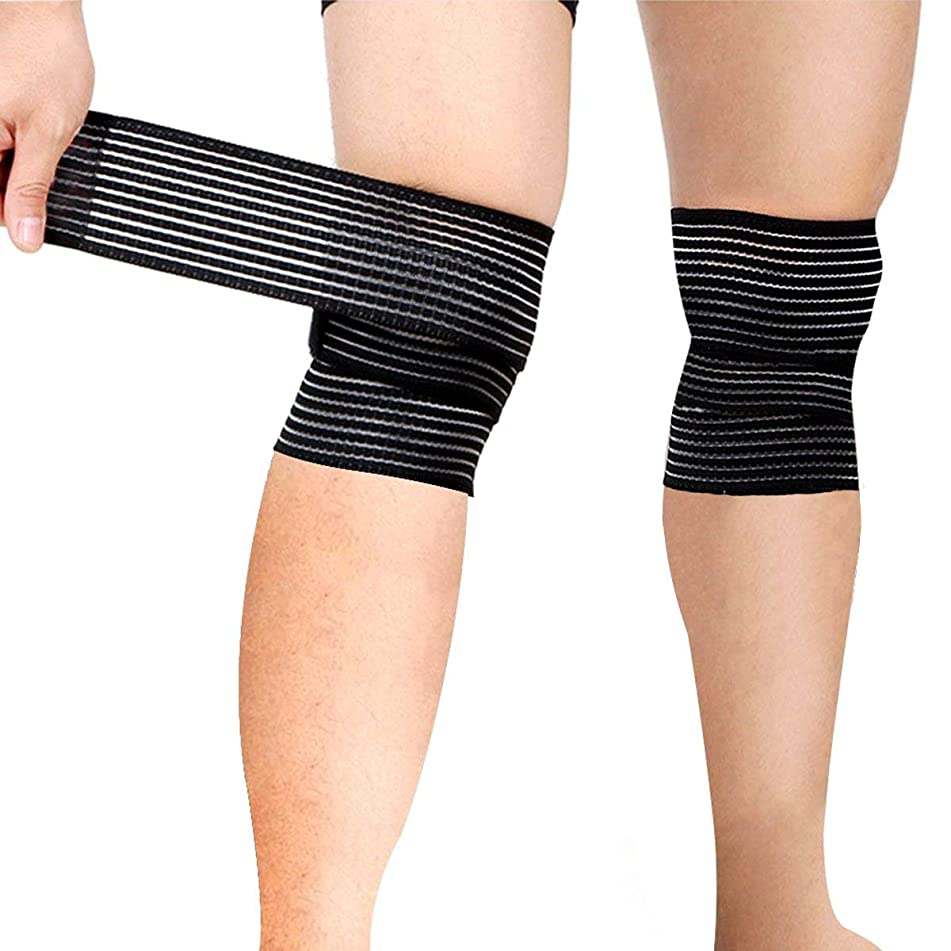 Sports Knee Wraps (Pair) for Weight Lifting, Gym Workout, Cross Training WODs,Fitness & Powerlifting - Knee Straps for Squats - Compression & Elastic Support