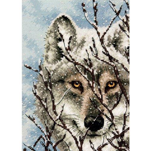 Dimensions - Kit per punto croce per realizzare un ritratto di lupo, composto da tela Aida a 18 coun