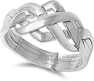 Prime Jewelry Collection Sterling Silver Women's Celtic Knot Puzzle Ring (Sizes 4-13)