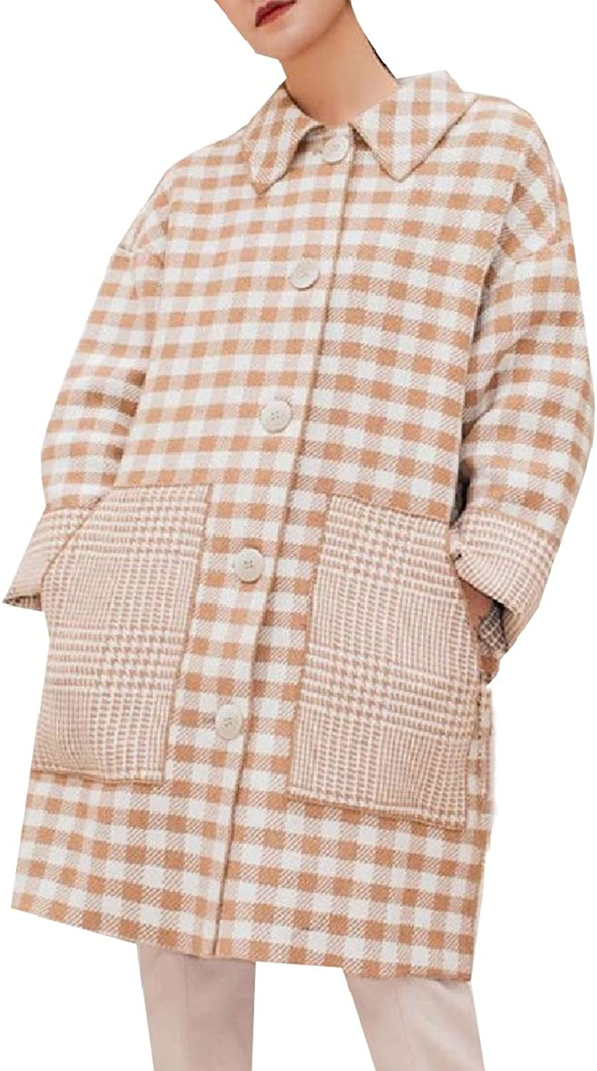 Coolhere Women WoolBlend Relaxed Gingham Vintage Plaid Trench Coat Jacket