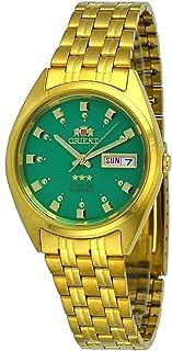ساعة اورينت FAB00001N للرجال 3 نجوم عادية ذهبي بمينا اخضر بخاصية عرض التاريخ واليوم