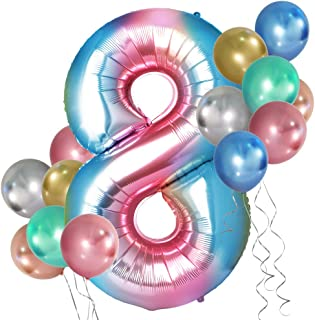 Simpeak 0-9 Number Party Balloons, 40 Inch Foil Number Balloon with 24Pcs Quality Latex Balloon 12 Inch Metallic Color for...