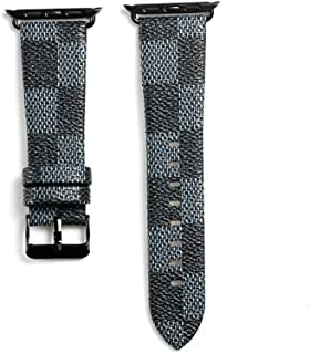 for Apple Watch Straps 42mm Fashion Leather iWatch Bands Sport Series 1 Series 2 Series 3 Strap for Women Men Color Metal Buckle with Black Adapters Stainless Steel (Blue 42mm)