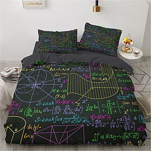 BATTE - Funda nórdica con texto matemático, iconos geométricos y ecuaciones y fórmulas físicas, temática matemática, ecuaciones, juego de ropa de cama (E,135 x 200 cm)