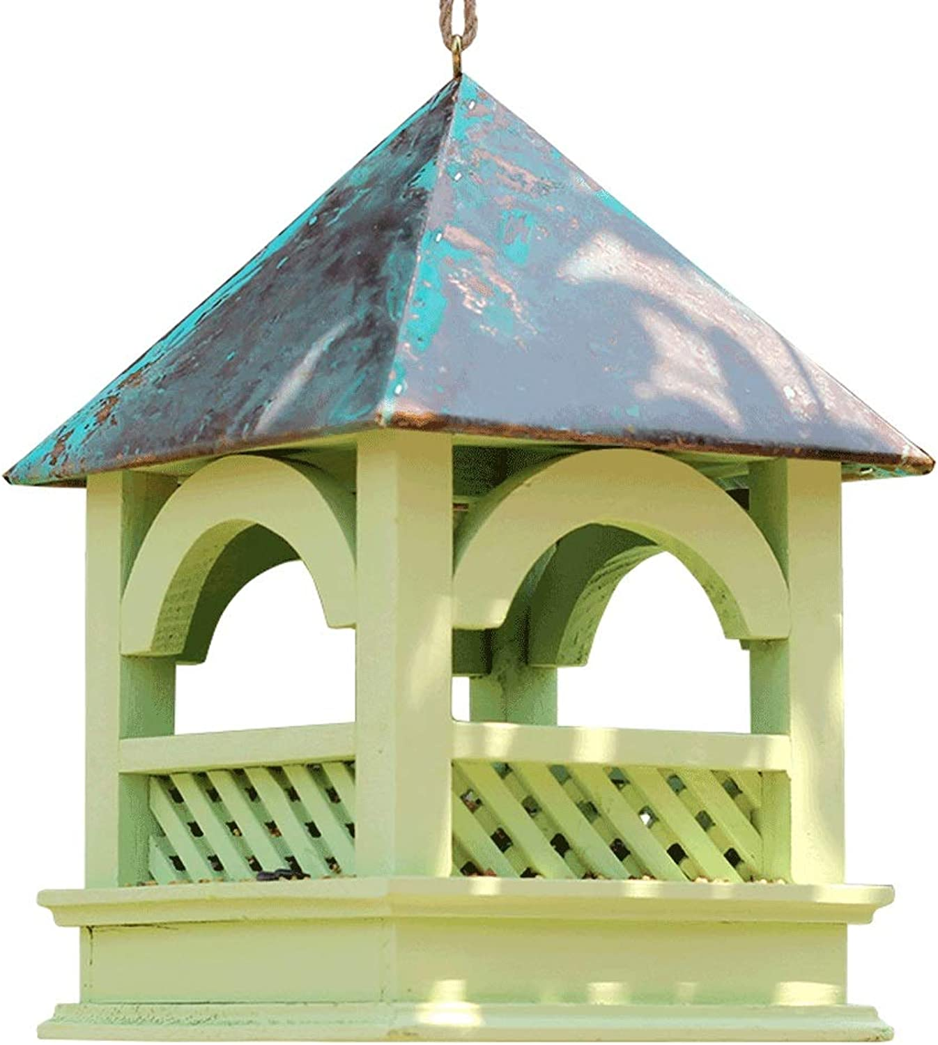 Natural Pine AntiUV UV Paint Bird Feeder Natural Ecological Science Outdoor Anticorrosion Bird Food Box (color   A)