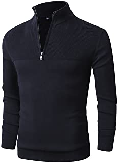 LTIFONE Mens Slim Fit Zip Up Mock Neck Polo Sweater Casual Long Sleeve Sweater and Pullover Sweaters with Ribbing Edge