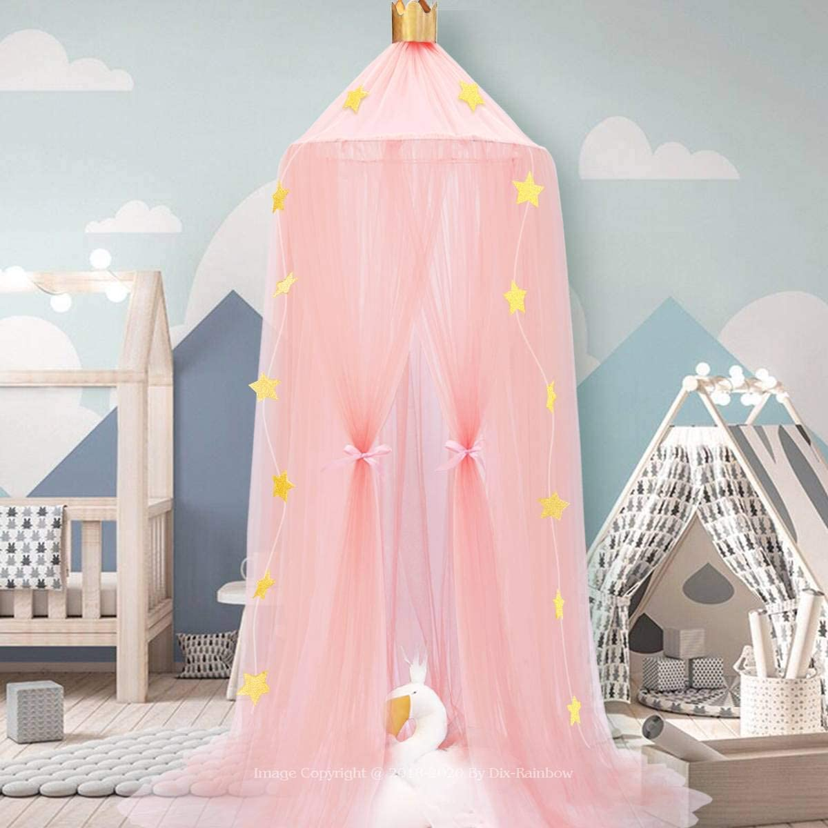 Pink Dix-Rainbow Bed Canopy Yarn Play Tent Bedding for Kids Playing Reading with Children Round Lace Dome Netting Curtains Baby Boys and Girls Games House