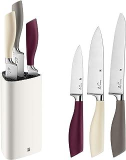 WMF ElementsJoy Messerblock mit Messerset 4-teilig, 3 Messer, Block aus Kunststoff, Spezialklingenstahl, mit Kunststoff-Bürsteneinsatz
