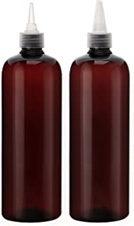 16.9oz Amber Squeeze Bottles, Segbeauty 2Pcs 500ml Refillable Hair Dye Colored Applicator Bottle with Angled Tip, PET Twis...